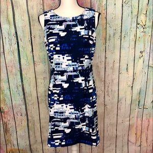 Mario Serrani Abstract Midi Sheath Dress